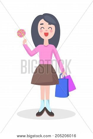 Happy young girl standing with colorful paper bags and candy on stick vector illustration. Woman holiday shopping flat concept isolated on white background. Female character make purchases on sale