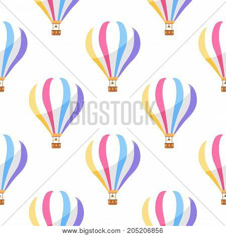 Airballoon with color stripes seamless pattern on white background. Vector illustration of object for travelling by air with basket endless texture. Wallpaper design with air means of transportation