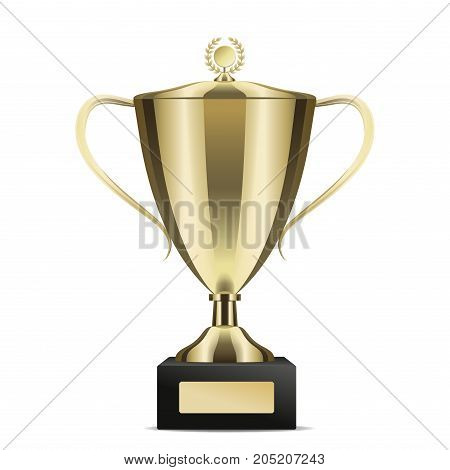 Golden shiny trophy cup for win with cover isolated on white background. Tournament prizes for first place vector illustration. Goblet for contest participation. Award for outstanding achievement.