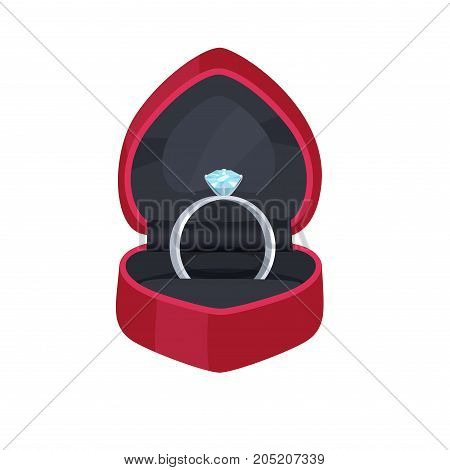 Engagement ring in velvet box heart shape with big precious stone isolated on white. Wedding accessory symbol of eternal love, unity and devotion. Vector illustration of proposal symbolic ring