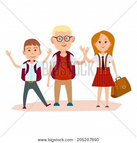 Happy schoolchildren with color schoolbags waving their hands vector illustration on white background. Friendship of two boys and red-haired girl.