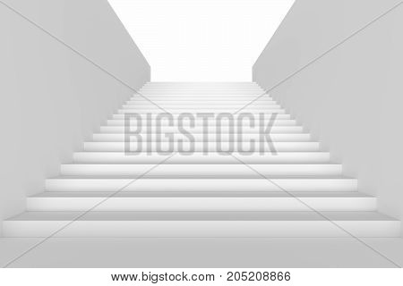 Long staircase with white stairs and walls in underground passage going up 3d illustration