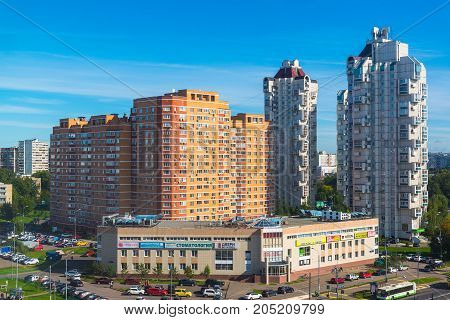 Moscow, Russia - September 20. 2017. view of the 18th micro district of Zelenograd administrative district