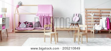 Furnished Elegant Pastl Pink Girl's Bedroom