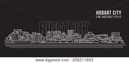 Cityscape Building Line art Vector Illustration design - Hobart city