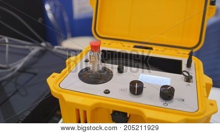 Industrial equipment on technology exhibition - the shaker calibration explosion proof portable, close up