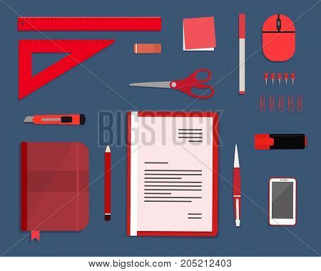 Red stationery on a blue background. Top view of a desk. There is a smart phone, a folder, a planner, a ruler, a stationery knife, a marker and other objects in the picture. Vector flat illustration