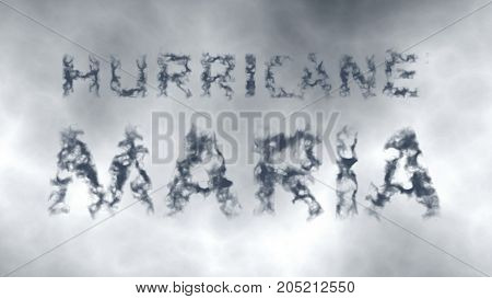 Hurricane Maria. Inscription of gray cloud letters against the background of the cloudy sky. 3d render