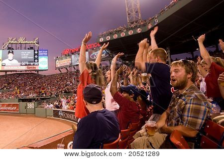 Boston - May 30: Fans Cheer At Historic Fenway Park During Memorial Day Game Against The Chicago Whi