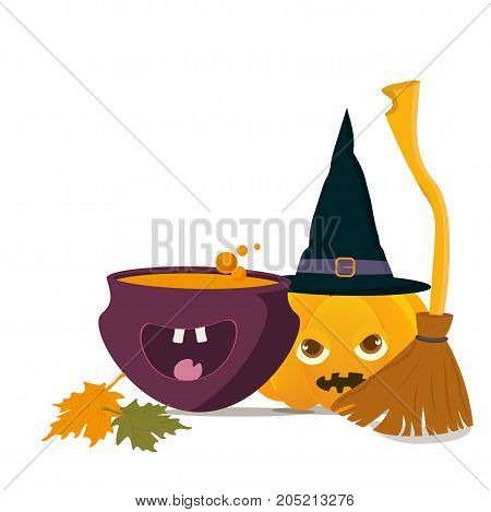 Cartoon styled Vector illustration: happy Witch Cauldron with Magic Boiling Soup or potion and Halloween Pumpkin or Squash with witch broom or besom. Place or Space for halloween greeting text or copy