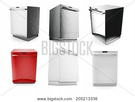 Freestanding dishwasher on white background 3d render