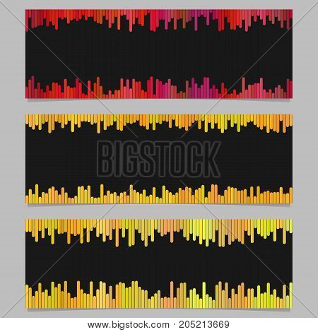 Color banner background design set - horizontal vector graphic from rounded vertical stripes on black background