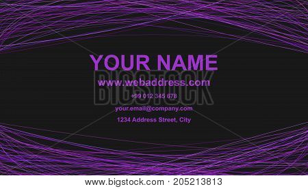 Abstract business card template design - vector personal graphic with arched lines in purple tones on black background
