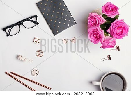 Coffee, Glasses, Pink Roses And Stylish Gold Stationery Om The White Background