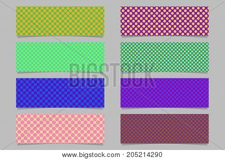 Abstract horizontal banner background template set - vector graphic designs with seamless polka dot pattern