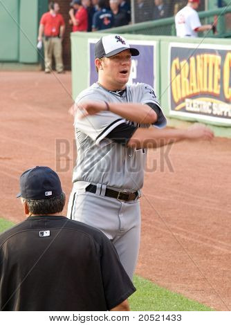 Boston - May 30: Starting Pitcher #44 Jake Peavy Warms Up Before Memorial Day Game Against The Red S