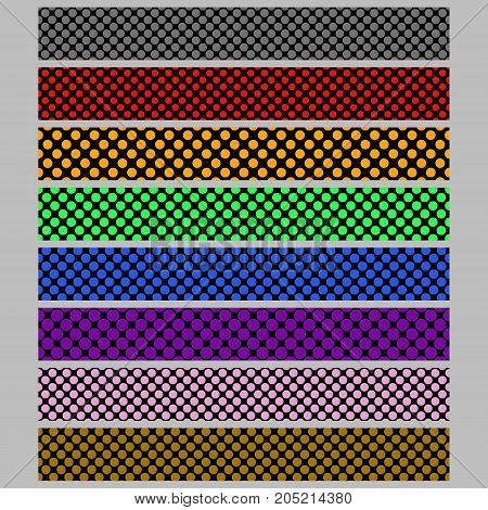 Abstract seamless polka dot pattern web banner background template set - vector graphic designs with colored circles