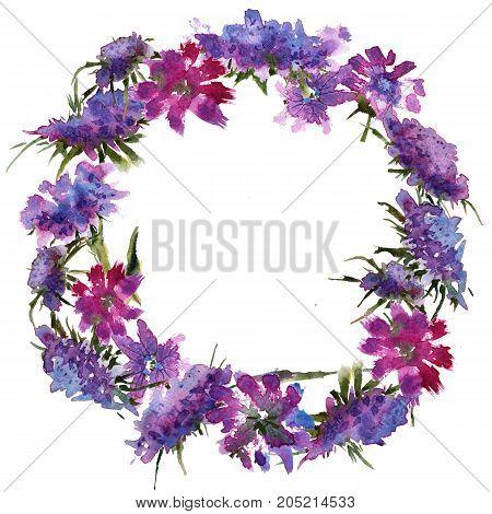 Wreath romantic watercolor Summer garden decoration flowers