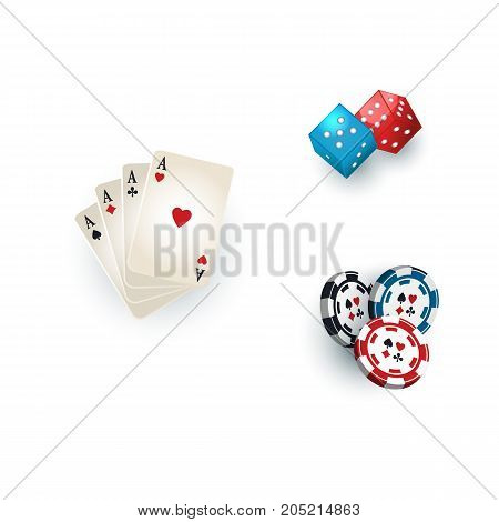 Set of casino, gambling devices - playing cards, chips, tokens and dices, vector illustration isolated on white background. Poker playing cards, gambling dices and casino chips, tokens