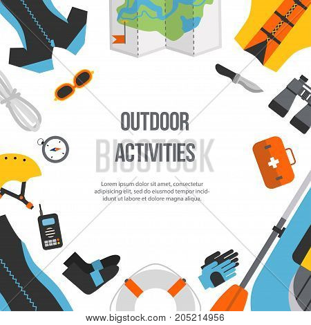 Square banner equipment for sports and outdoor activities flat design. Boat, clothes, compass and map for rafting isolated. For website, print and advertising, vector illustration