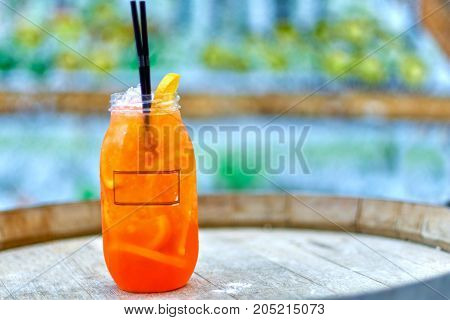 Cocktail Aperol-spritz. A Plastic Glass With An Orange Wedge And