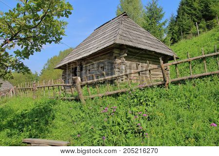 The picture was taken in Ukraine in one of the villages of the Carpathian Mountains. On the фто there is an old rural house located on a green hillock that has overgrown with flowers.