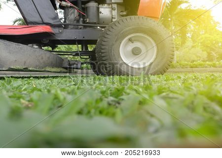 Mowing or cutting the long grass with a green lawn mower with burst light