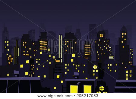 Night city vector illustration. Night vector cityscape in flat style. Skyline abstract background.