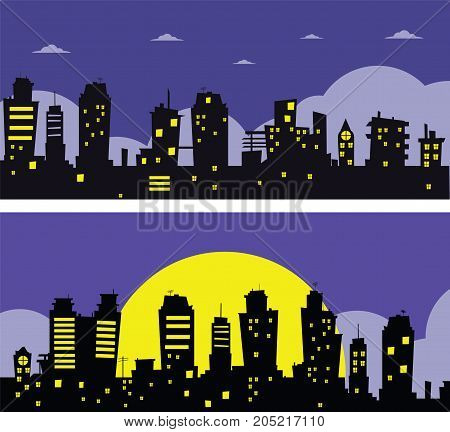 Night city vector illustration. Dark urban cityscape in flat style. Two banners. Vector