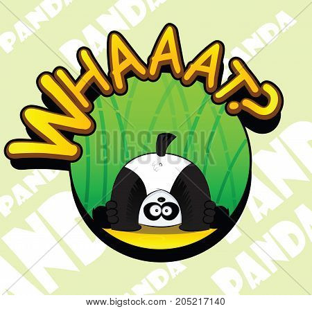 Cute cartoon panda have fun. Vector badge, easy to edit.