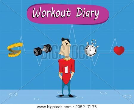 Workout diary concept. Cartoon fitness newbie and icons of heart rate, muscle volume, dumbbell, stopwatch. Vector