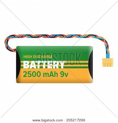 Powerful bettery with 2500 mAh 9v for high discharge isolated on white background. Energy container with wire for connection. Electrical appliance to refill power content vector illustration.