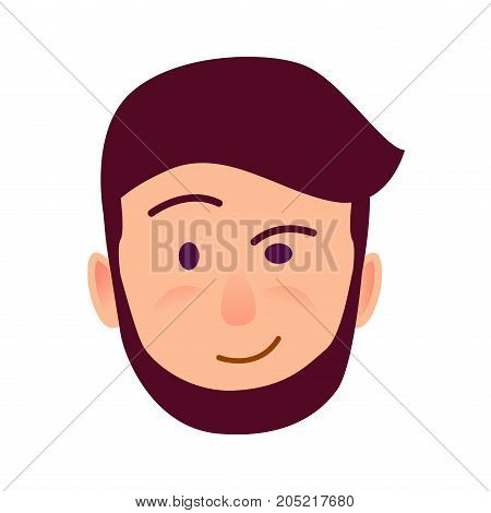 Distrustful young man rosy face icon. Bearded, brown-haired male with skeptic facial expression flat vector isolated on white background. Hipster cartoon emotive portrait for user avatar illustration