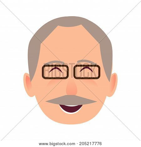 Laughing face of gray-haired old man close-up portrait on white background. Elderly human in black-rimmed glasses opened mouth in good mood. Vector illustration in cartoon style flat design avatar