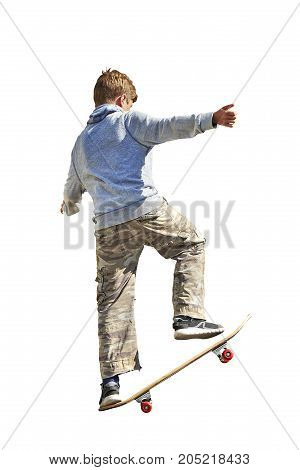 Young teenager boy practicing skateboard on white background isolated with clipping path