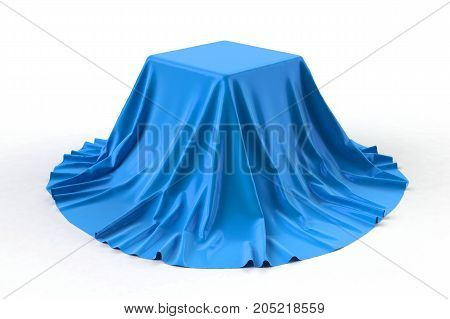Sphere covered with bright blue silk fabric isolated on white background. Surprise sale, award, prize, presentation concept. Reveal the hidden object, raise the curtain. 3D illustration