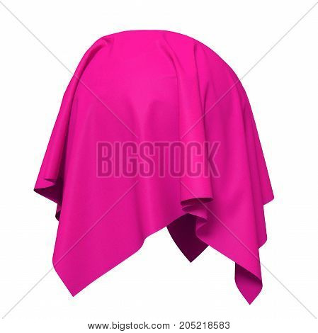 Sphere covered with bright pink silk fabric isolated on white background. Surprise sale, award, prize, presentation concept. Reveal the hidden object, raise the curtain. 3D illustration