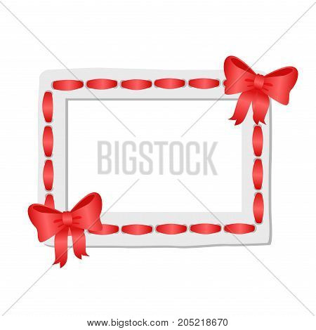 White frame with rounded edges decorated red ribbon and two ruddy bows. Vector illustration of pretty memory cadre isolated on white.