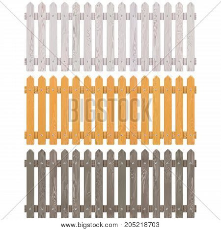 Vector Wooden Picket Fence isolated on white background