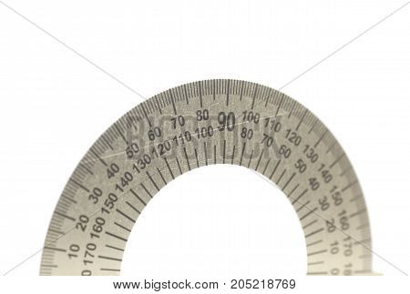 Metal protractor isolated on white background .