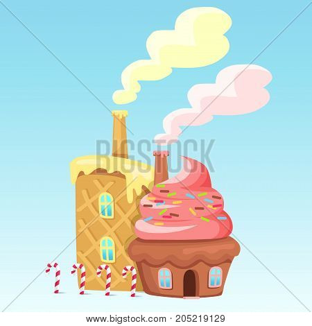 Chocolate cake with pink topping, two windows and colored drops. Checkered waffles with creamy cream. Sweet desserts have acting chimney, four candy canes stands near wafer window vector illustration