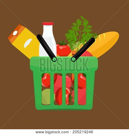 Green plastic shopping basket full of groceries products. Grocery store. Flat vector illustration