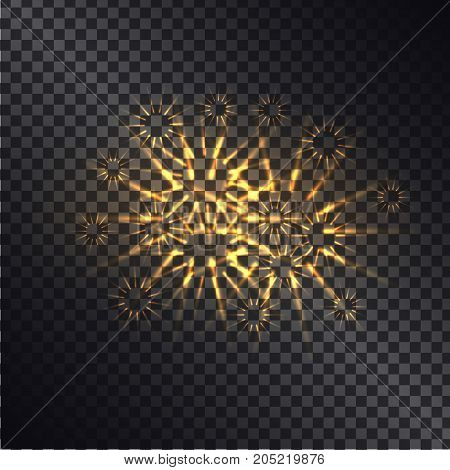 Glowing fiery sparks with golden rays realistic vector light effect on dark transparent background. Shiny elements with light glittering. Explosive flashes, fireworks or magic light illustration