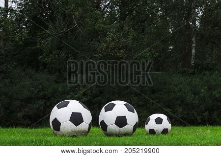 Three Soccer Balls Stand In A Row On The Green Grass. Sport Game.