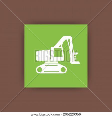 Forest harvester icon, track feller buncher, timber harvesting machine flat icon, vector illustration