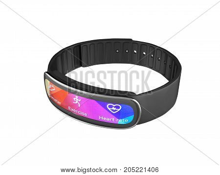 Fitness Bracelet Smart Watch Isolated On White Background 3D Without Shadow