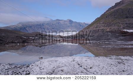 An icy nature around Svínafellsjökull glacier in Iceland