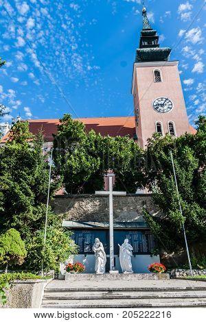 A vew on the Catholic Church of Poysdorf, Austria