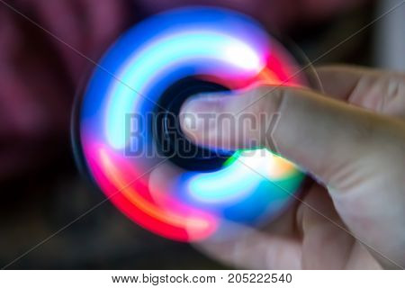Fidget Spinner Toy With Led Light In Hand