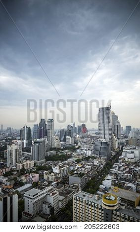 view of central silom business district skyscrapers in bangkok thailand by day